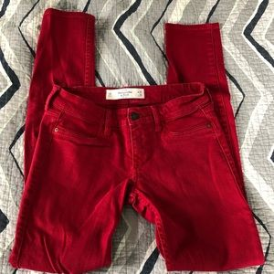 Abercrombie & Fitch red skinny jeans 👖 Size 0R